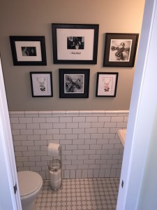 I made this little gallery wall in the powder room. I used free downloads from Foxhollowcottage.com for the deer silhouettes.