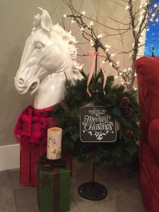 My son says this horse has absolutely nothing to do with Christmas. I said sure it does, he's wearing a scarf. Lol!