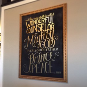 This is my favorite new addition. Made from a $30 mirror, painted with chalkboard paint and vinyl lettering by my friend Tonya