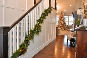 I added garland at the bottom of the stairs so the boys can hold the handrail