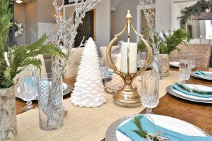 I used fresh greenery on in simple vases on the table. I wanted to use birch vases, but I didn't have any. I did have birch wrapping paper from pier one though! wrapped around the vases you would never know.