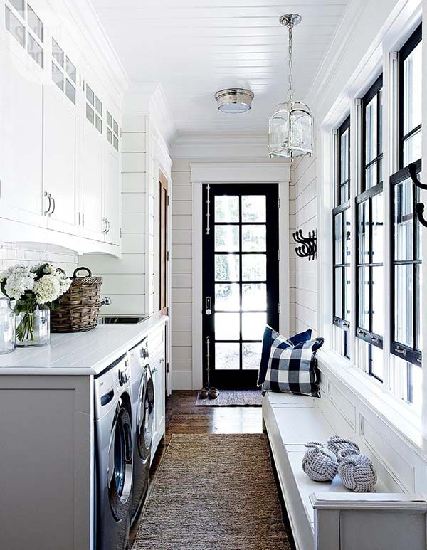 galley-laundry-room-mud-room-black-white-shiplap-walls-black-windows-buffalo-check-pillows-style-at-home1
