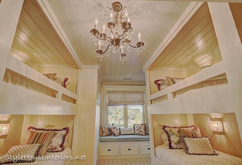 builtin bunkbeds shiplap ceiling