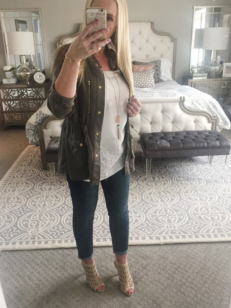Military jacket styling for spring