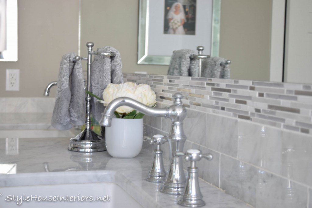 Tall backsplash, Moen weymouth faucets. stylehouseinteriors.com
