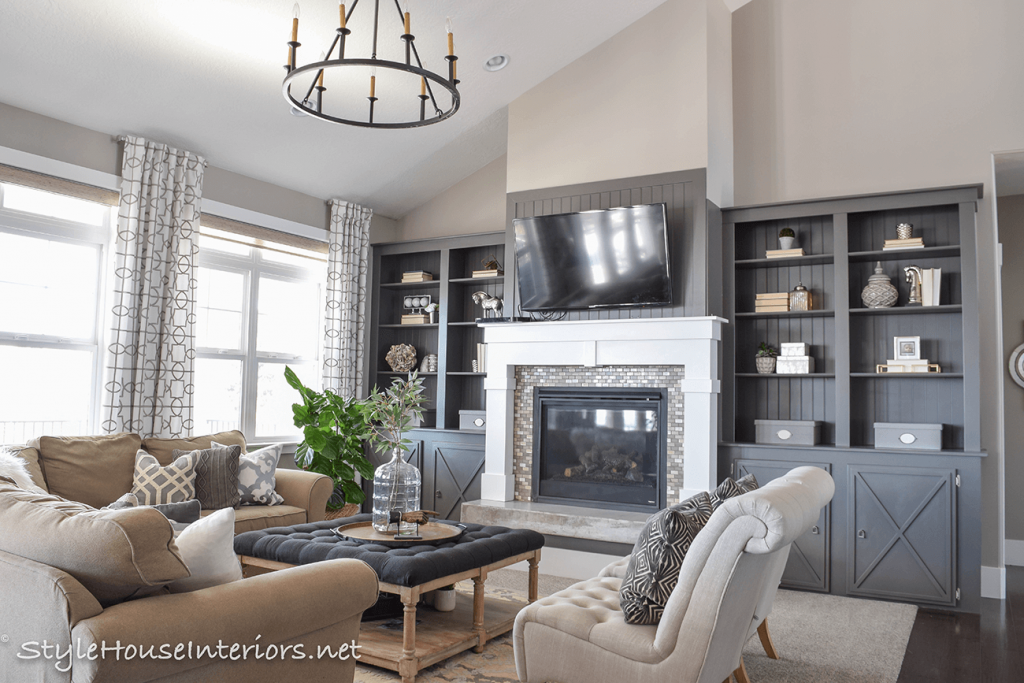 Neutral Family room one room challenge
