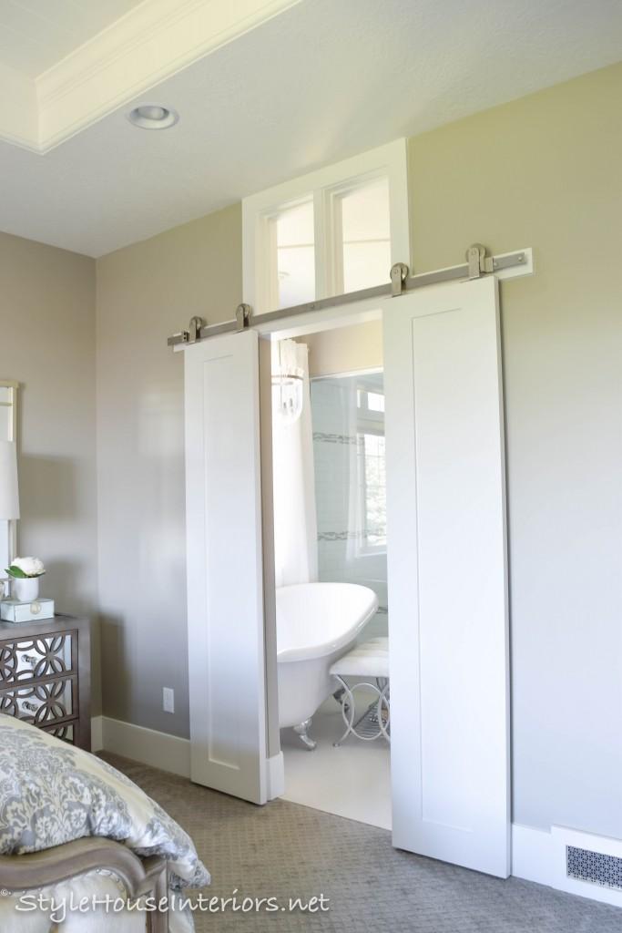 Custom barn doors into Master bathroom