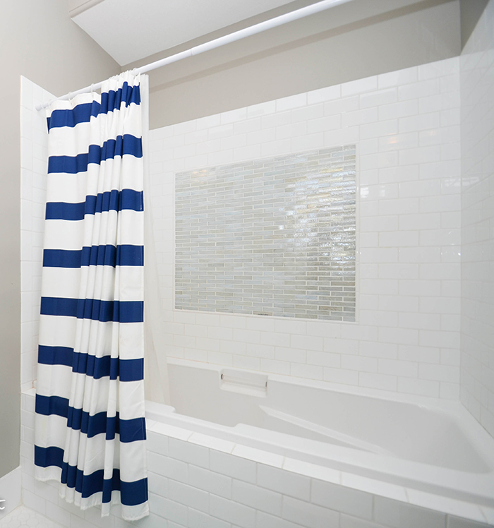 Subway tile with glass accents