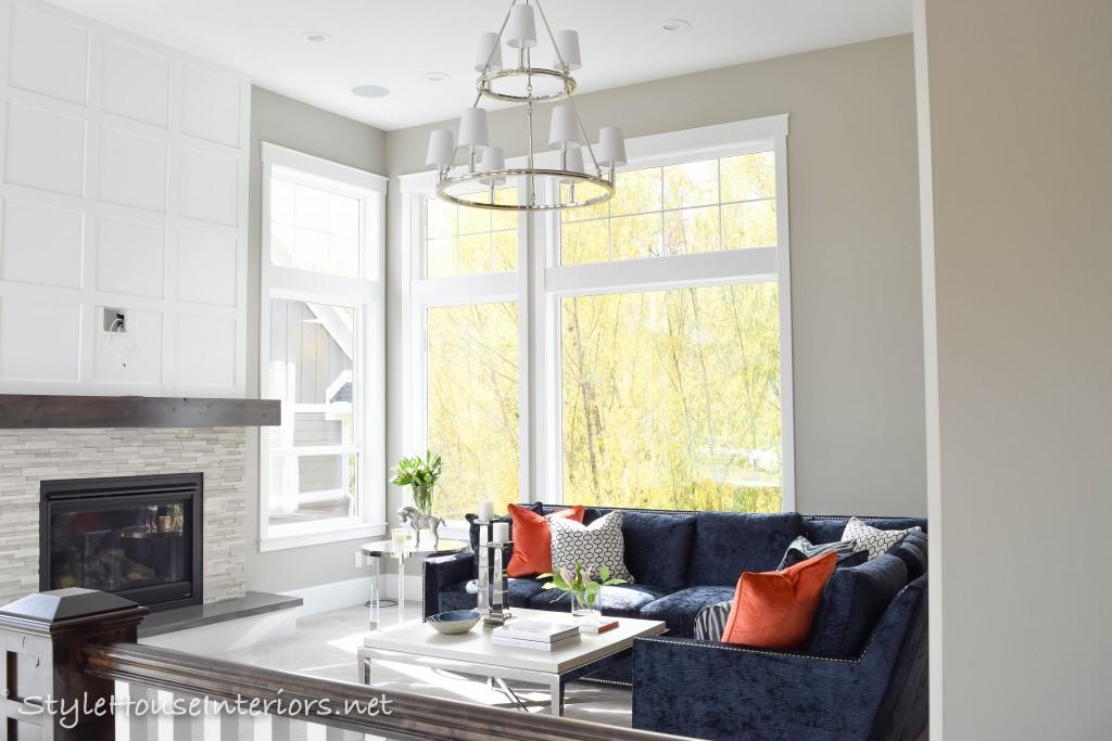 Blue velvet sofa Transitional family room