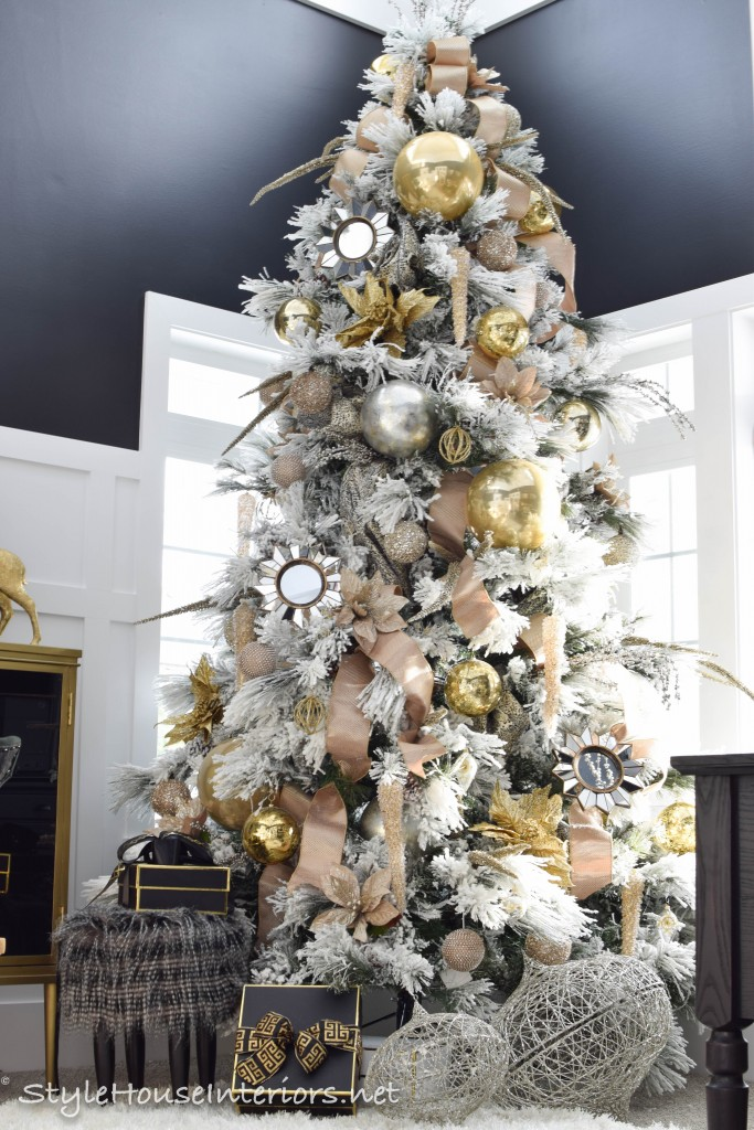 Flocked tree with Black and Gold accents
