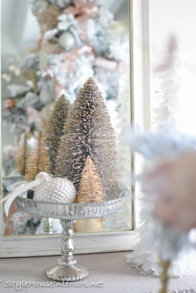 masterbedroom-christmas transforming basic bottle brush trees into an elegant centerpiece