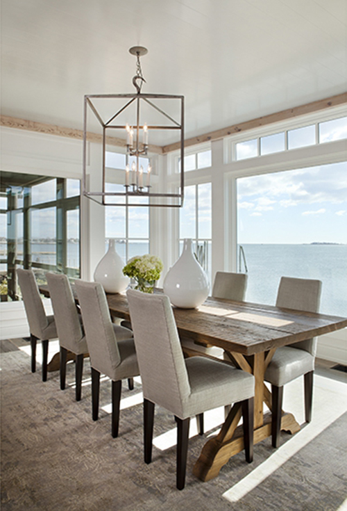 Water Front Home Is Designed By Micheal Greenberg And Ociates The Light Fixture A Perfect Example Of Using An Oversized Above Your Table