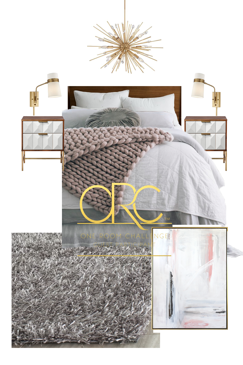 Modern Industrial Boho | or Glam Boho White bedroom makeover week 2 One Room Challenge