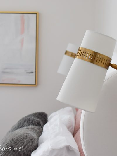White bedroom makeover bedside plug in sconces – One room challenge week 6
