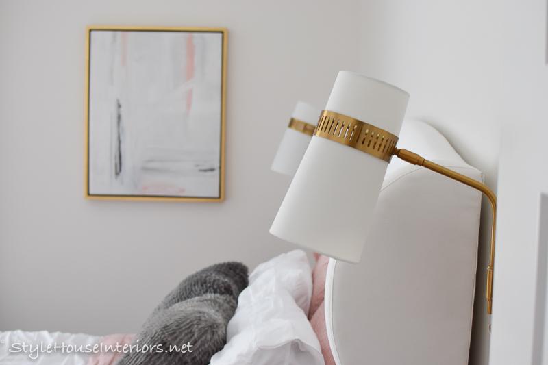 White bedroom makeover bedside plug in sconces – One room challenge week 6