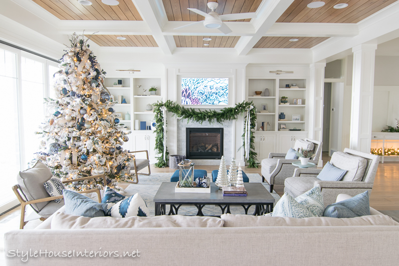 Casual Elegant Blue And Silver Christmas Decorating Ideas Style House Interiors