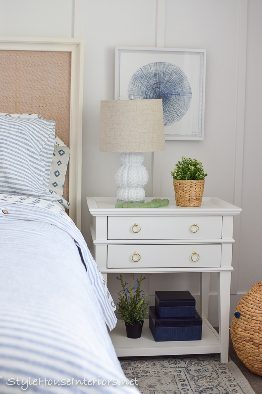 Lakeside blue and white bedroom