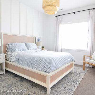 Blue white rattan bedroom