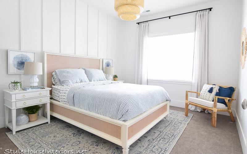 Blue white rattan bedroom