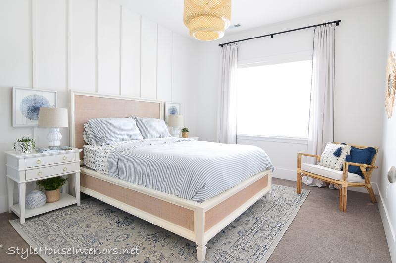 Blue+White+Rattan Lakeside Inspired Bedroom Makeover