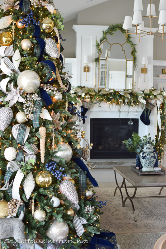Blue and Green Tartan Plaid Christmas Home Tour 2019